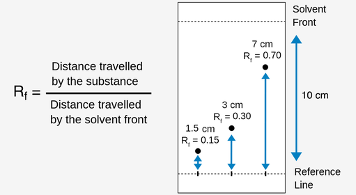 The R f value can be calculated by taking the distance travelled by the substance and dividing it by the distance travelled by the solvent front. On the right of the equation is a rectangular piece of paper or T L C plate. There is a reference line marked at the bottom of the plate with 3 ticks along the line for each sample. The solvent front is marked at the opposite end of the plate. The solvent front is 10 cm from the reference line. There are 3 spots on the plate, one for each sample. The first sample is 1.5 cm from the reference line, and has an R f of 0.15. The second spot is 3 cm from the reference line, and has an R f of 0.3. The third spot is 7 cm from the reference line, and has an R f of 0.7.