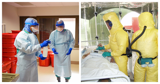 Two images of men wearing personal protective equipment. In the first image, two men are wearing protective hoods, gows, gloves, masks and eyeshields, and they spray their hands with disinfection solution. In the second image Two men are inside the lab, wearing yellow overall suits with attached oxygen tanks and protective gloves.